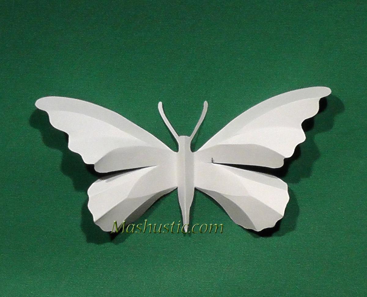 Объемные бабочки из бумаги своими руками трафарет из бумаги