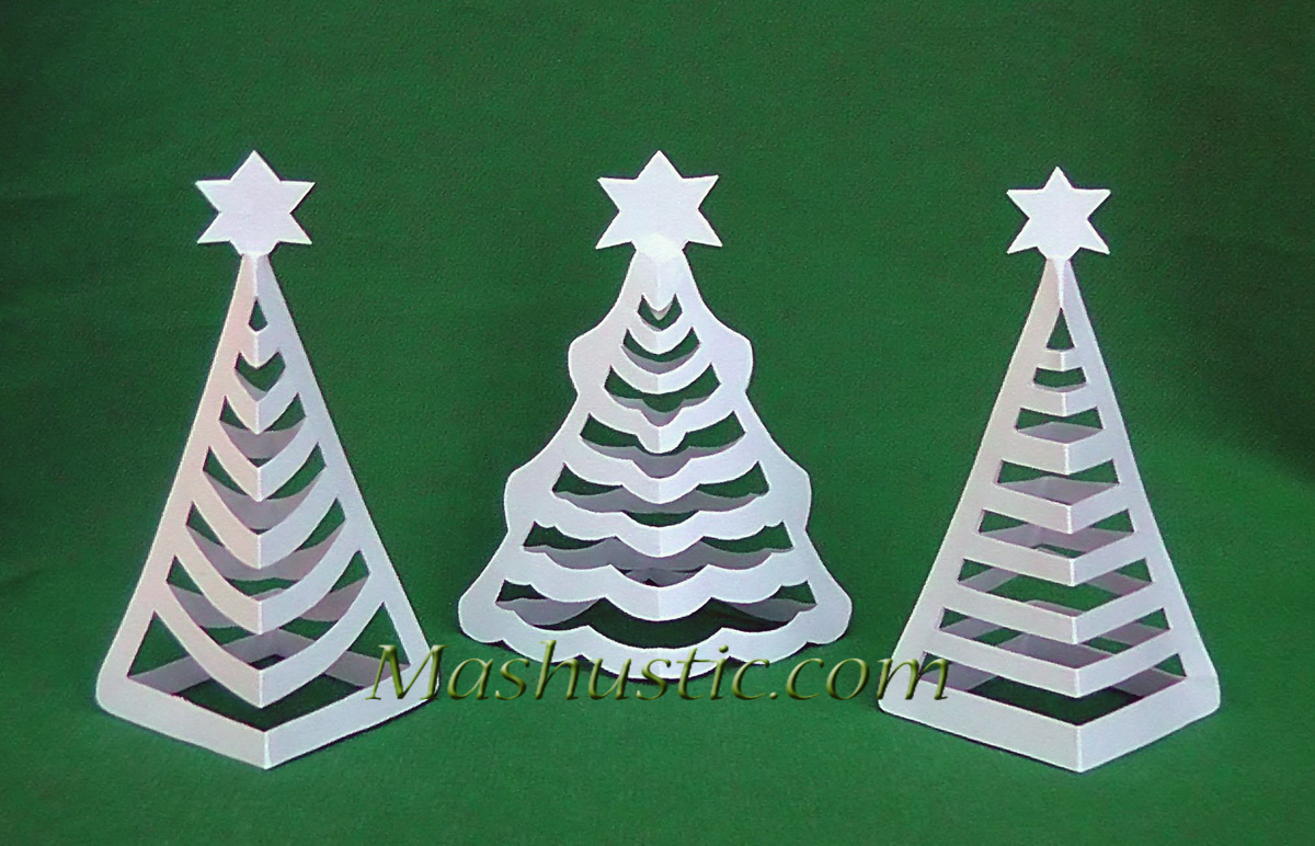 3d Paper Christmas Tree Template.Mini 3d Christmas Trees Made Of Paper Mashustic Com